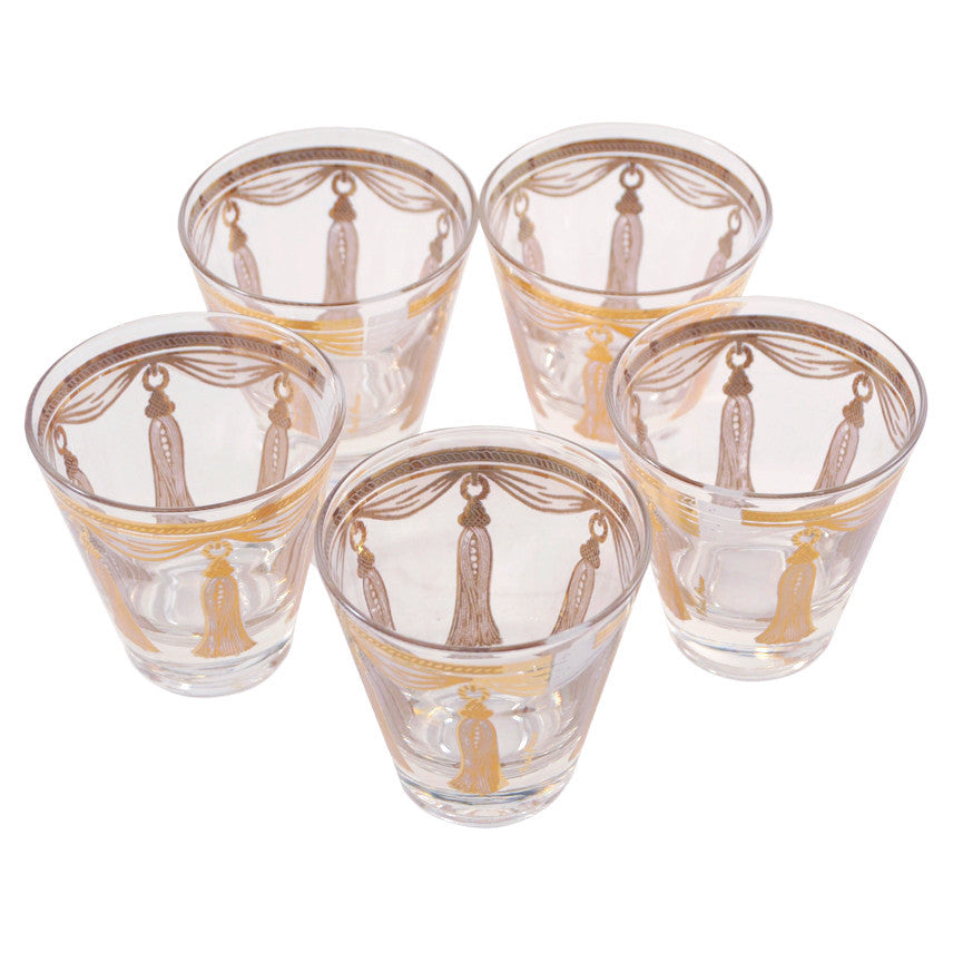 Vintage Fred Press Gold Tassel Cocktail Glasses, The Hour