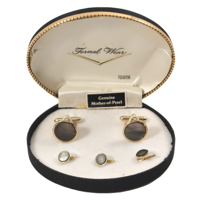 Vintage Swank Dark Mother Of Pearl Cufflinks Set, The Hour