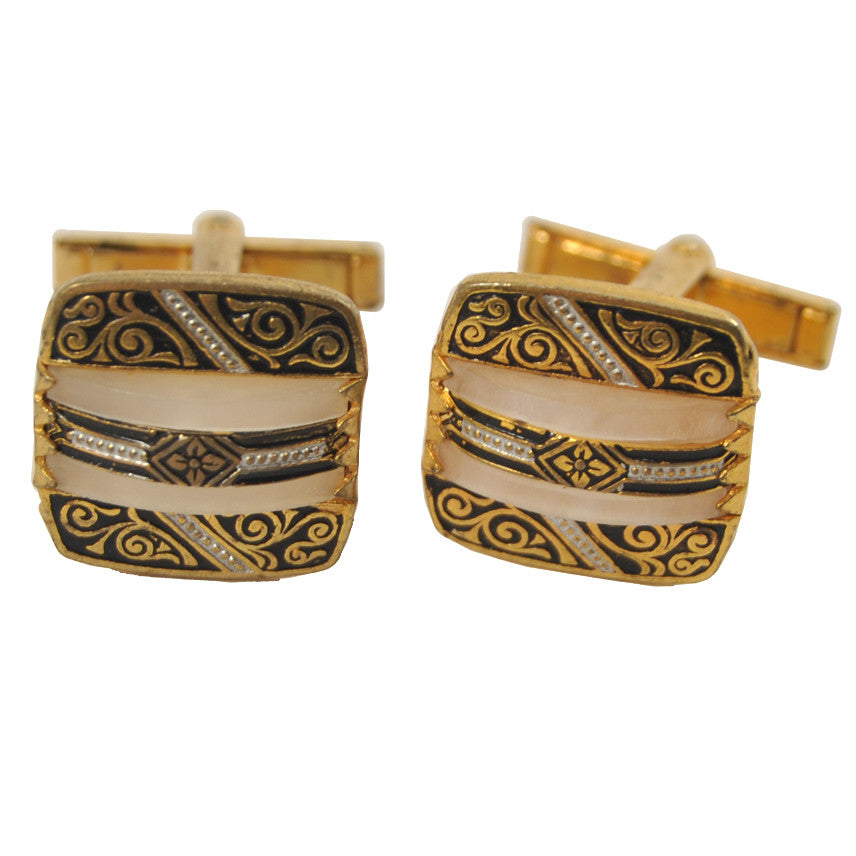 Vintage Damascene & Mother of Pearl Cufflinks, The Hour