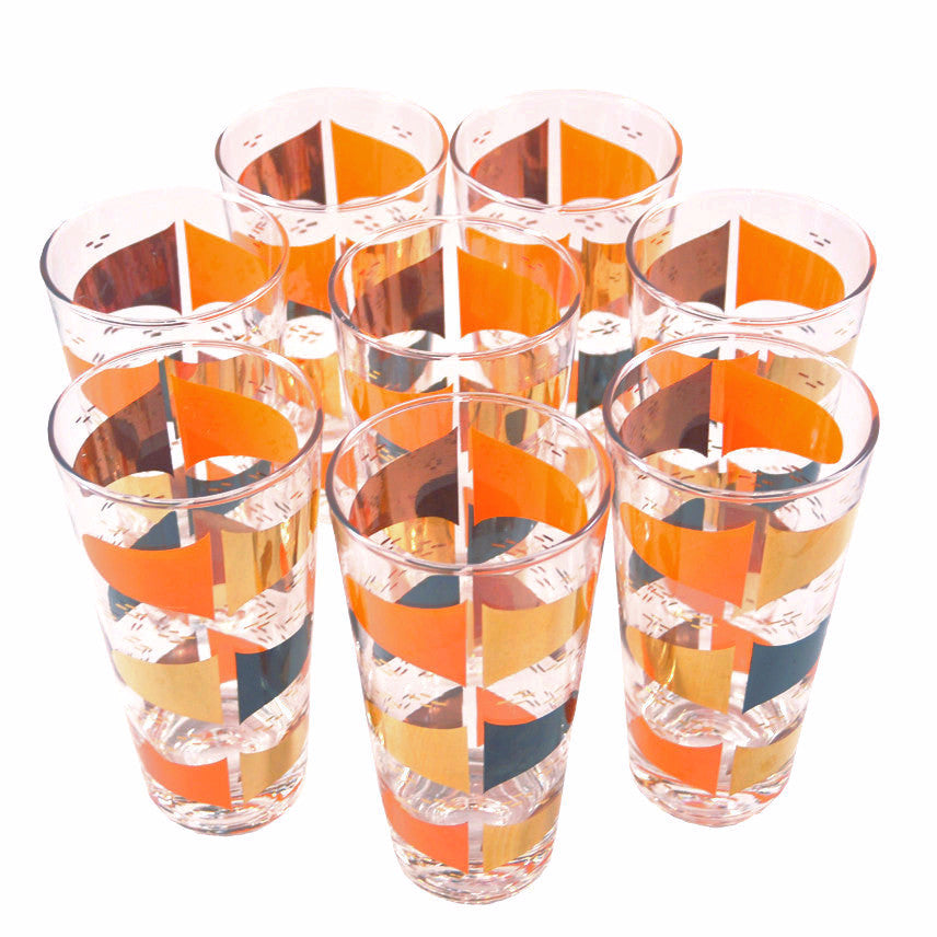 Vintage Orange, Black & Gold Mod Glasses, The Hour