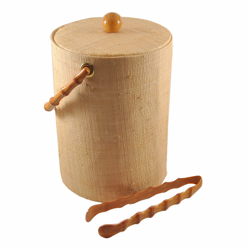 Woven Grass & Bamboo Ice Bucket & Tongs, The Hour Shop Vintage Barware