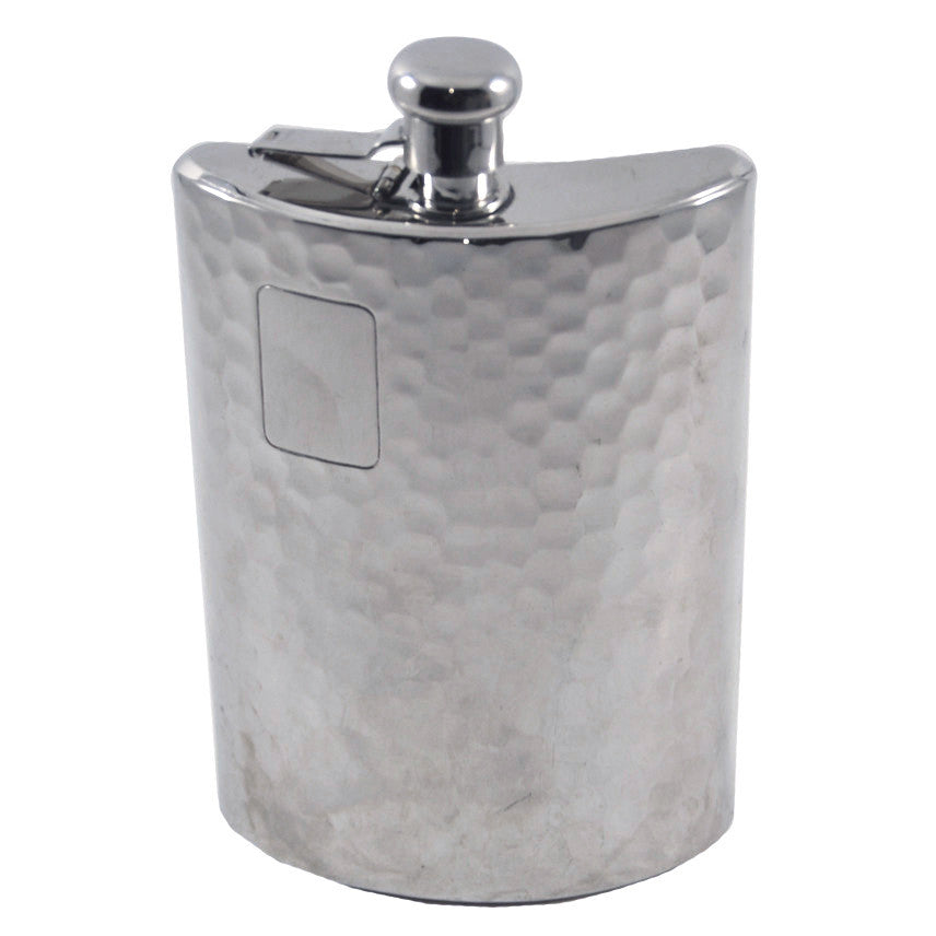 Vintage Hammered Chrome Plated Flask, TheHourShop.com