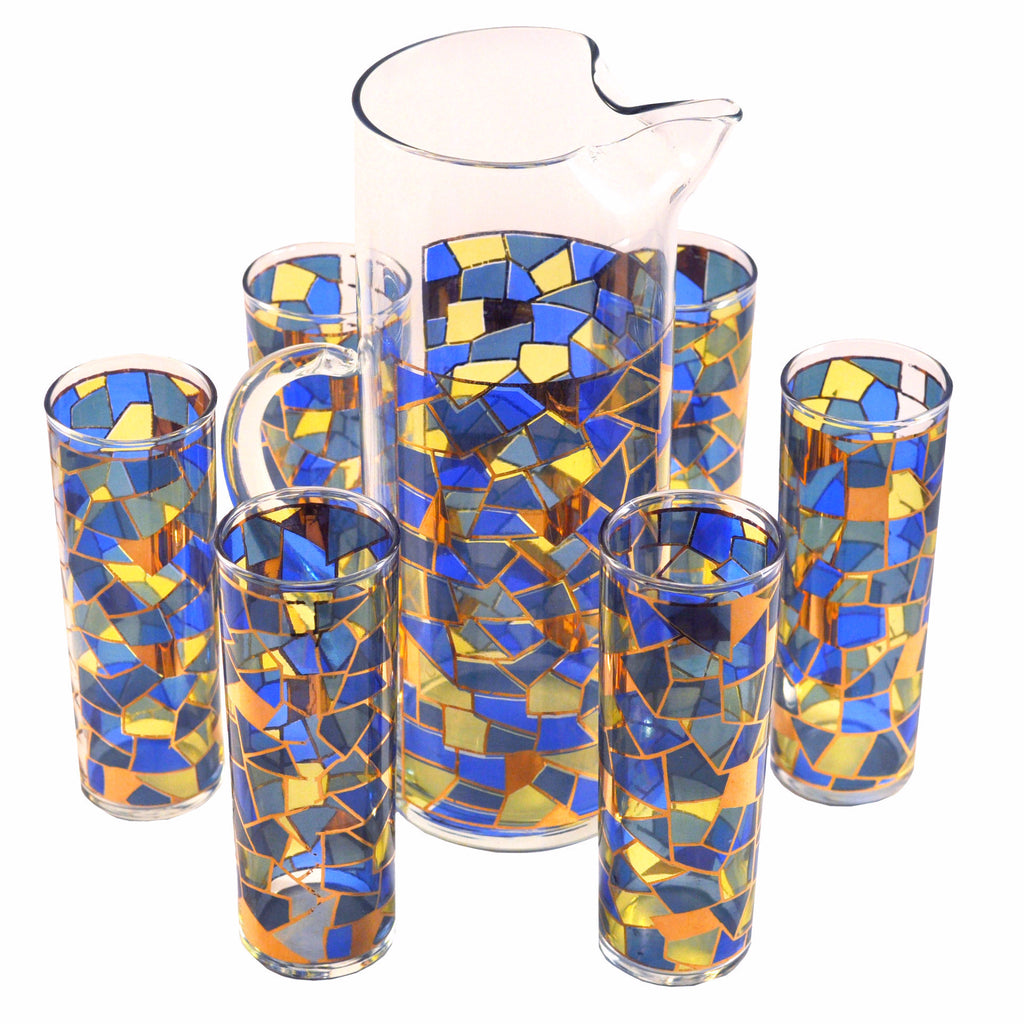 Vintage Mosaic Pitcher & Glasses Set, The Hour Shop
