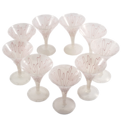 Vintage Pink Swirl Frosted Cocktail Glasses, The Hour