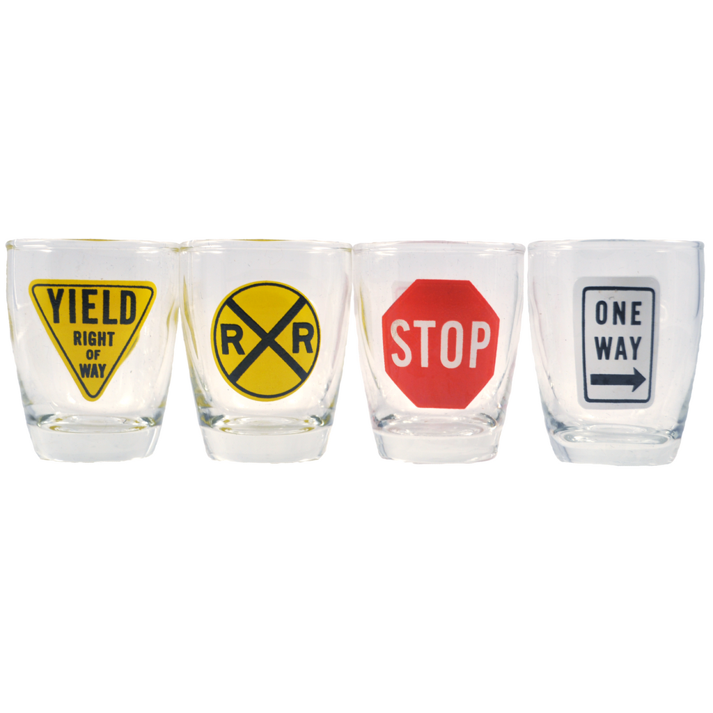 Vintage Anchor Hocking Street Sign Shot Glasses, The Hour