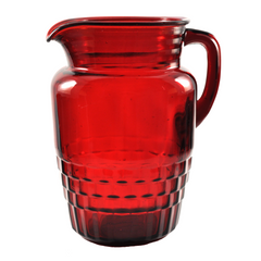 Vintage Anchor Hocking Ruby Red Pitcher Set, The Hour