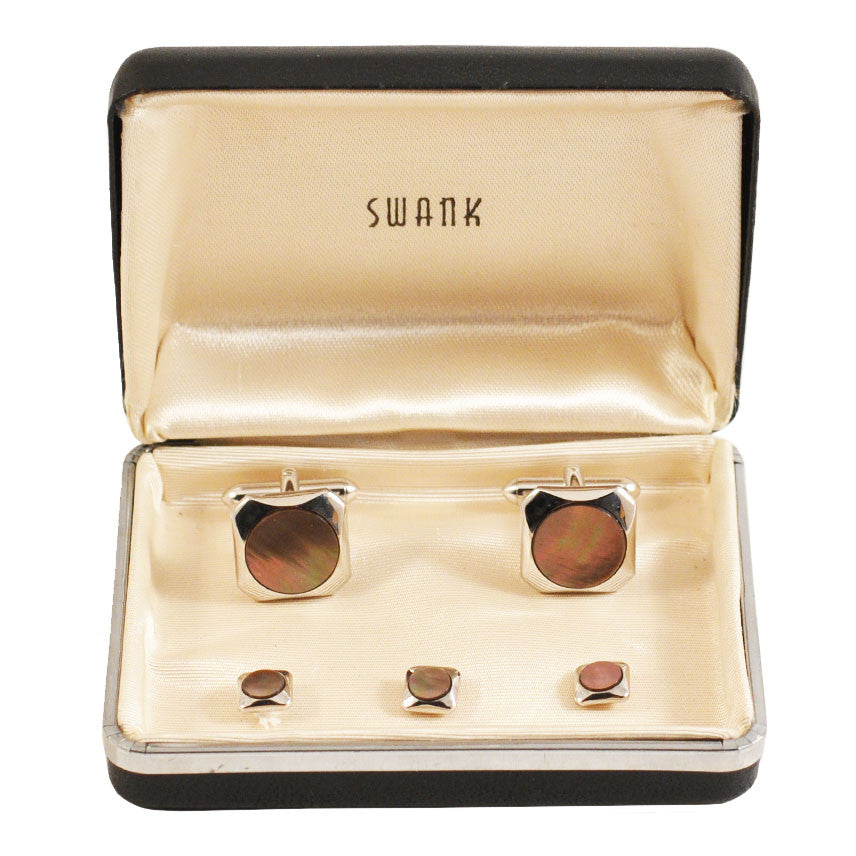 Vintage Swank Abalone & Silver Cufflink Set, The Hour