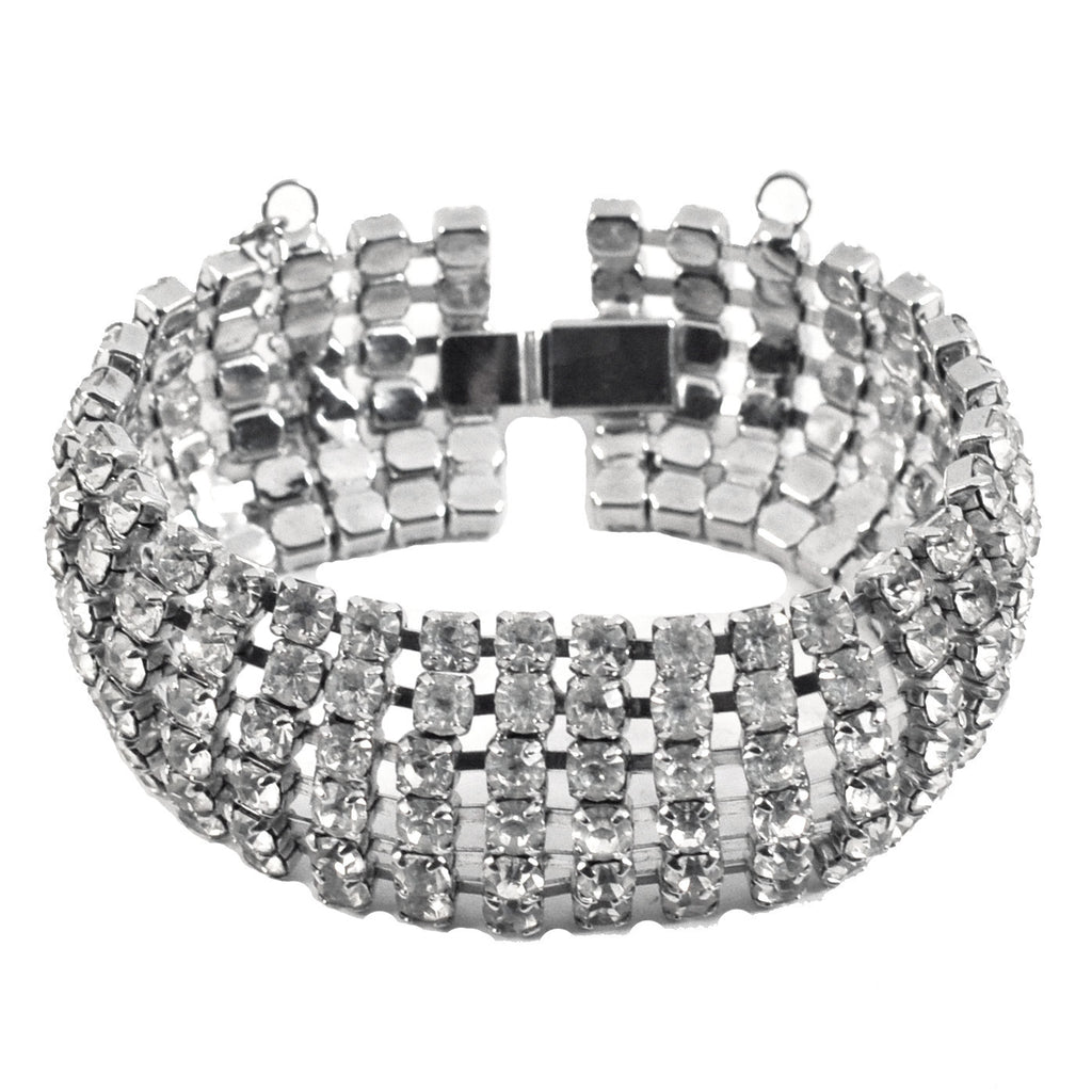 Six Row Round Cut Vintage Rhinestone Bracelet, The Hour