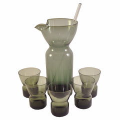 Vintage MCM Swedish Smoke Glass Cocktail Set, The Hour
