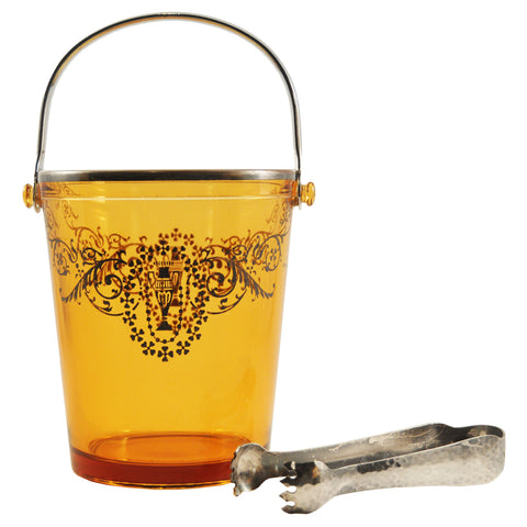 Amber Glass Ice Bucket