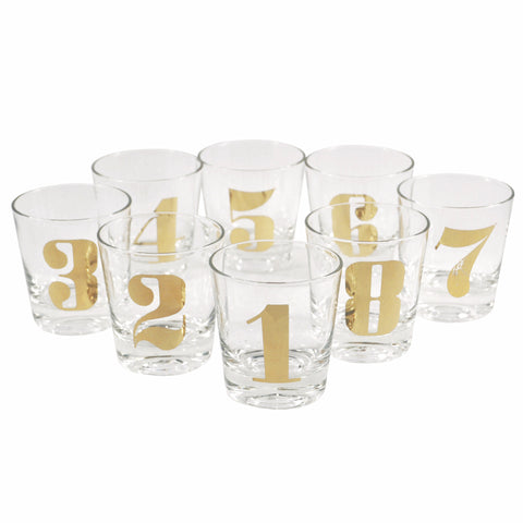 1 - 8 Gold Numbered Rocks Glasses