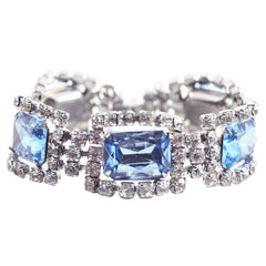 Vintage Light Blue & Clear Rhinestone Bracelet, The Hour