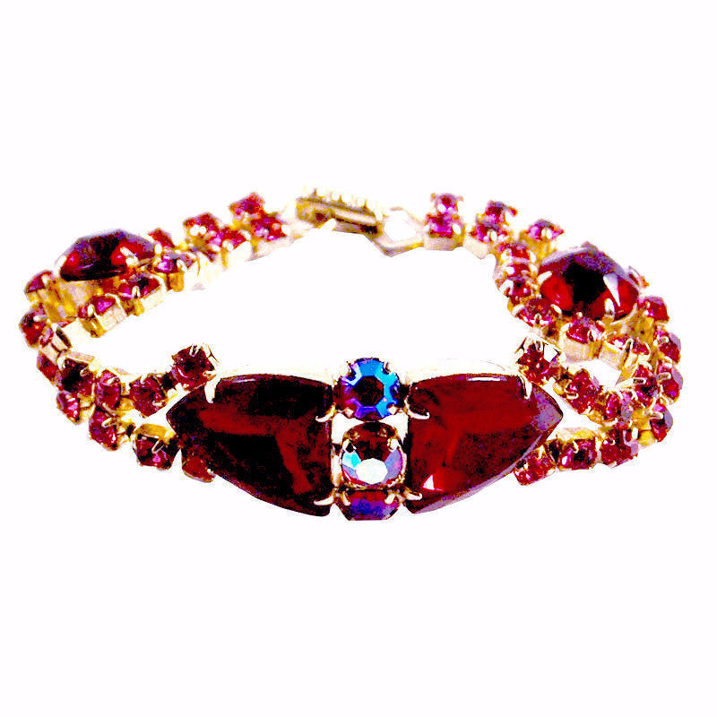 Vintage Jewelry Red, Pink Rhinestone Bracelet, The Hour