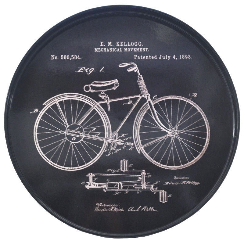 Black & White Vintage Bicycle Round Tray, The Hour Shop Barware Trays