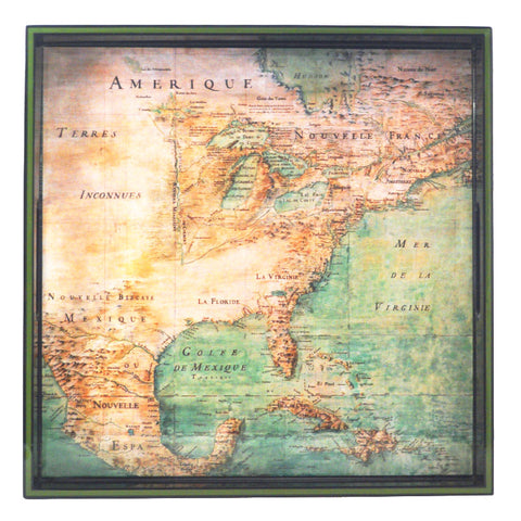 America Map c. 1680 Lacquer Tray