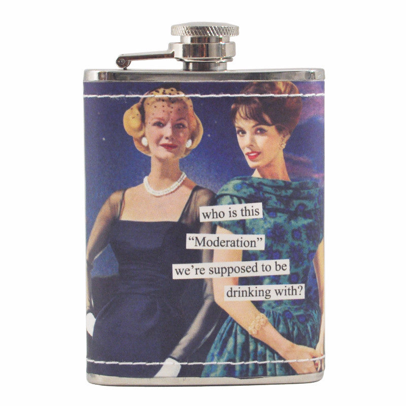Anne Taintor Moderation Flask, The Hour Shop Barware
