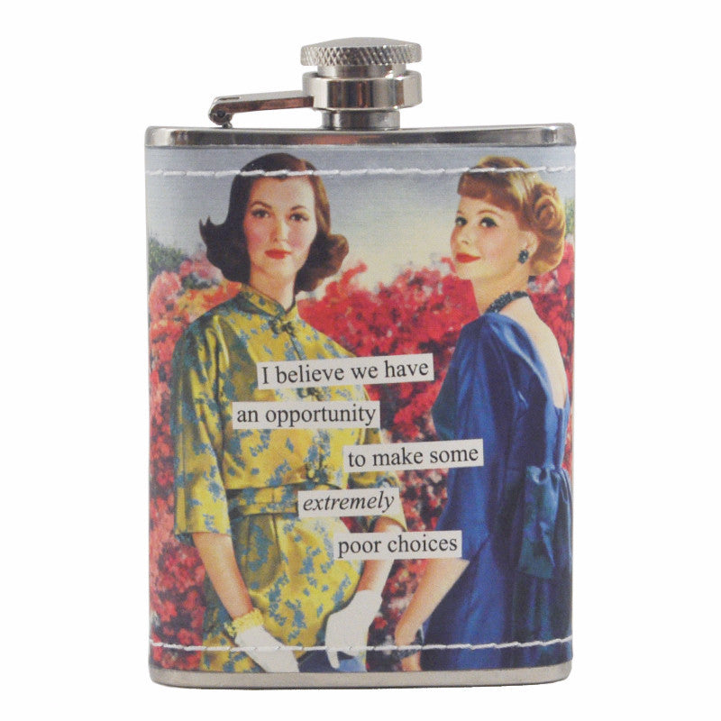 Anne Taintor Poor Choices Flask, The Hour Shop Barware