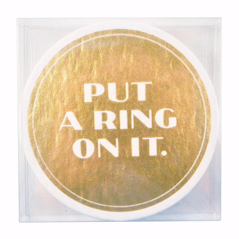 Put A Ring On It Paper Coasters, The Hour Shop Barware