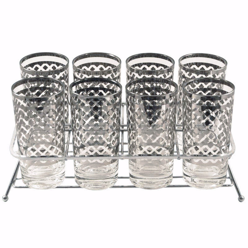 Mercury Band Diamond Glass Caddy Set, The Hour Vintage Cocktail Glasses