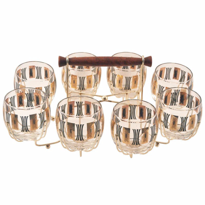 Gold & Black Roly Poly Glasses Caddy Set, The Hour Shop Vintage Cocktail Glasses