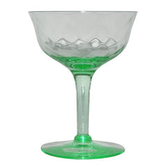 Vintage Green Depression Glass Coupes, The Hour Shop