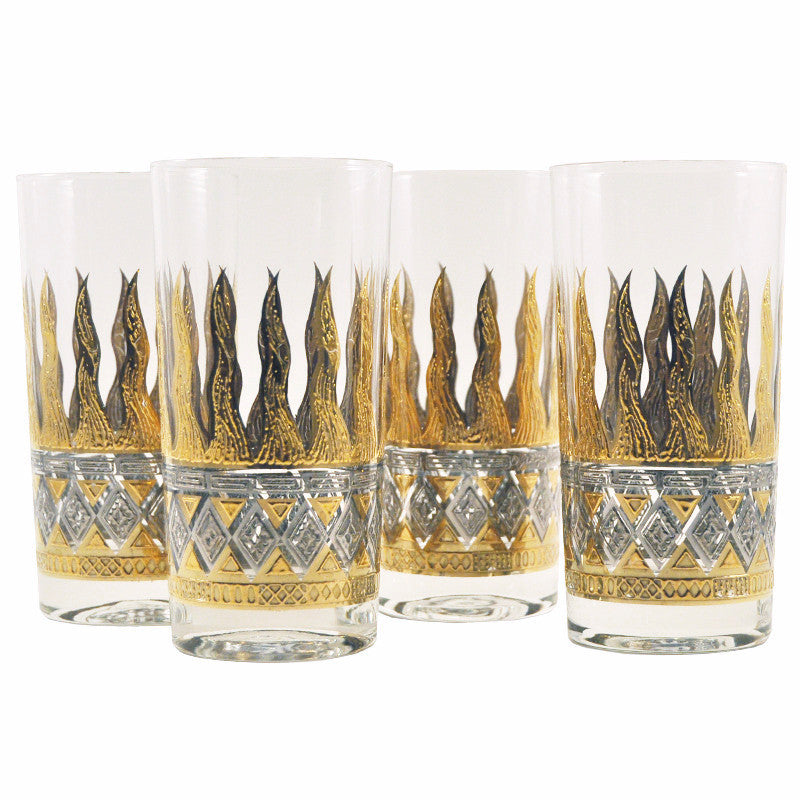 Vintage G. Briard Gold Flame Collins Glasses, The Hour