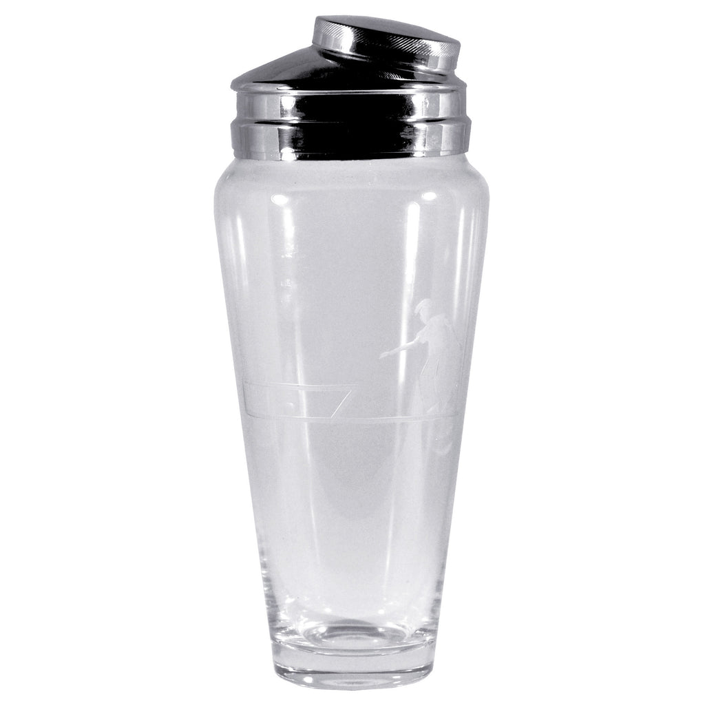 Etched Glass Art Deco Bowler Cocktail Shaker, The Hour
