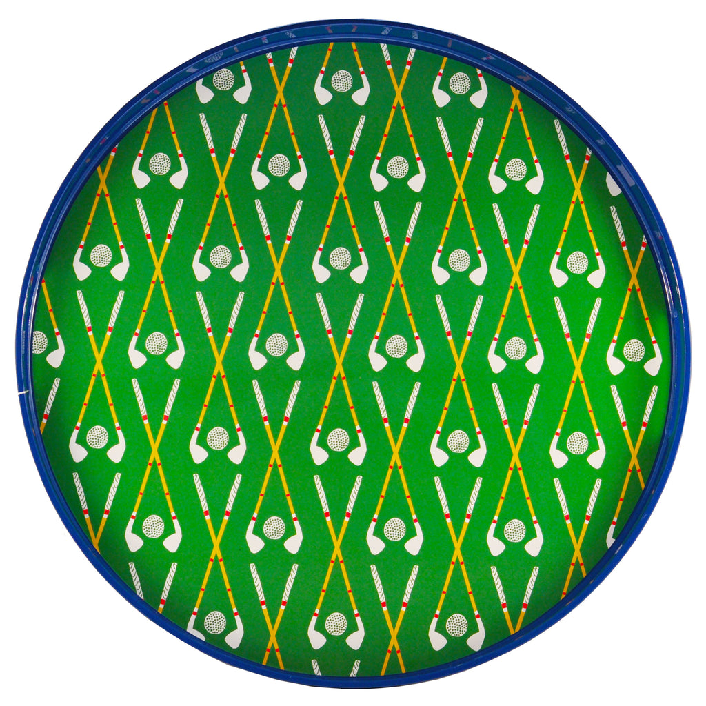 Green & Blue Golf Round Lacquer Tray, The Hour Shop