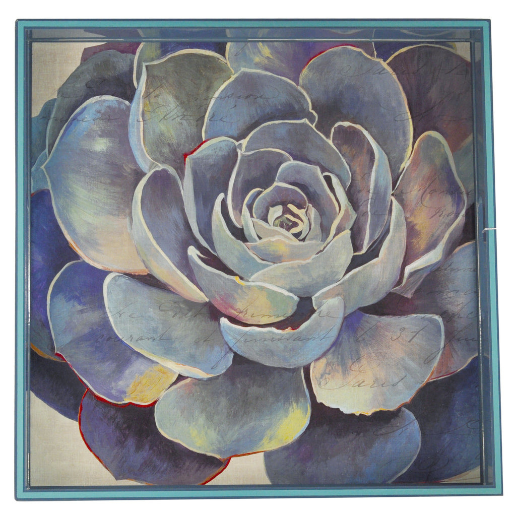 Blue Succulent Square Lacquer Tray, The Hour Shop