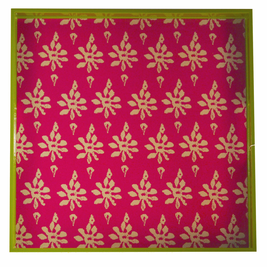 Rock Flower Paper Pink & Green Lacquer Tray, The Hour Shop