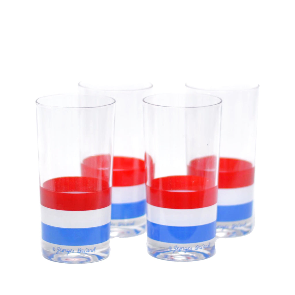 Vintage Briard Red, White & Blue Stripe Glasses, The Hour