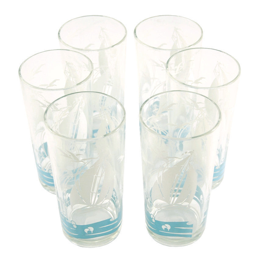 Vintage White& Blue Sailboat Tumbler Glasses, The Hour