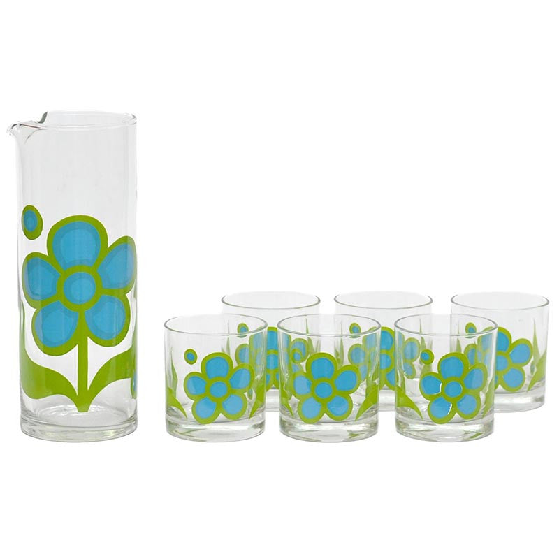 Colony Mod Flower Cocktail Set, The Hour Shop Vintage Cocktail Pitcher Set