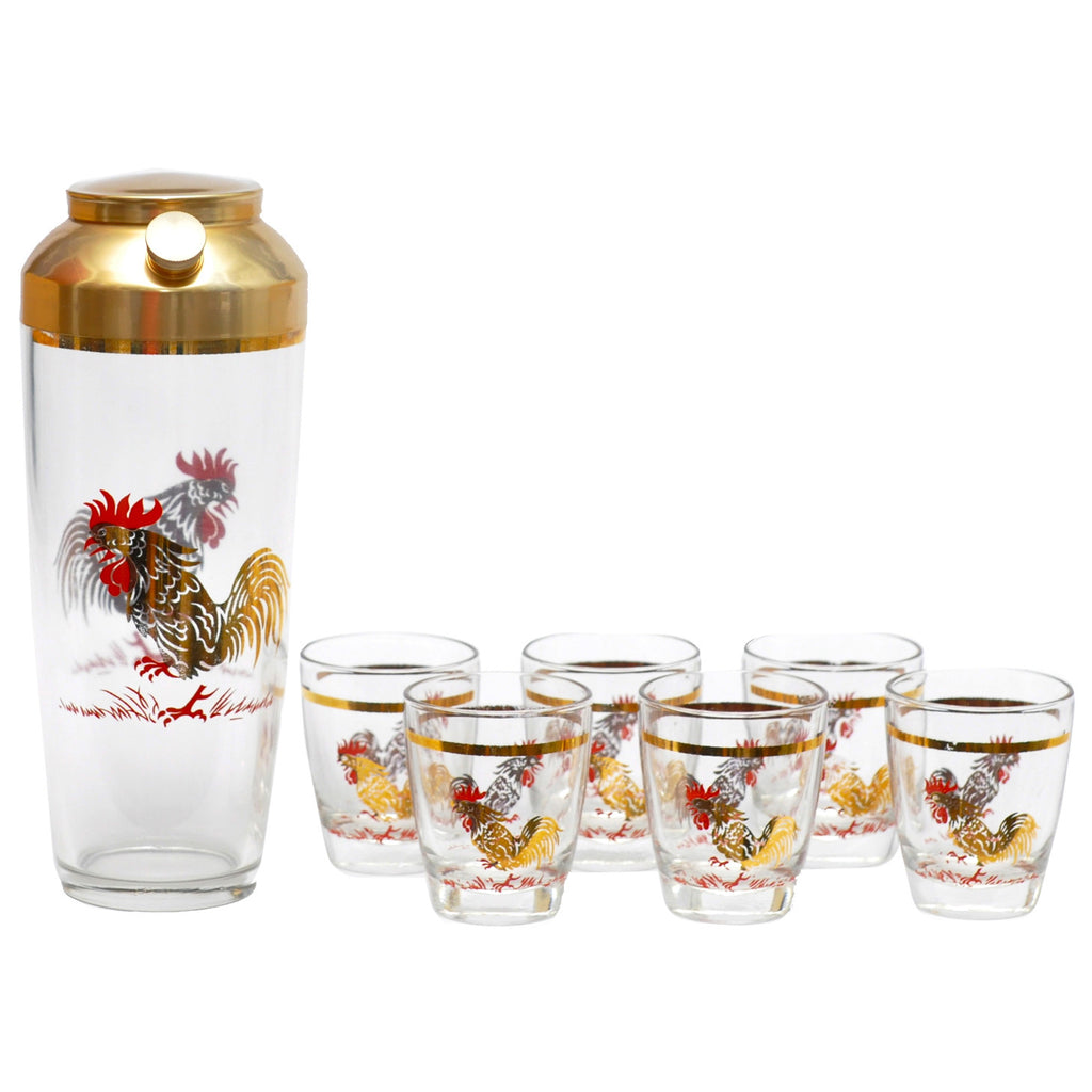 Vintage Gold & Red Rooster Cocktail Shaker Set, The Hour Shop