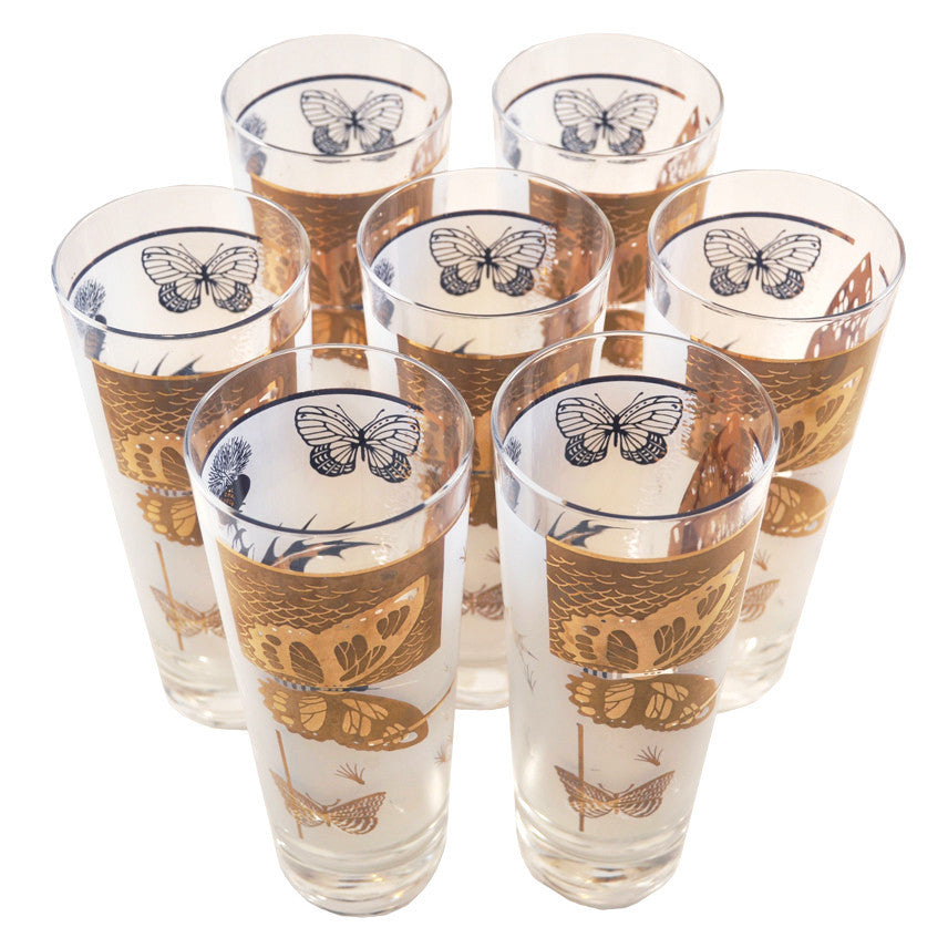 The Hour Shop, Vintage Frosted Butterfly Collins Glasses