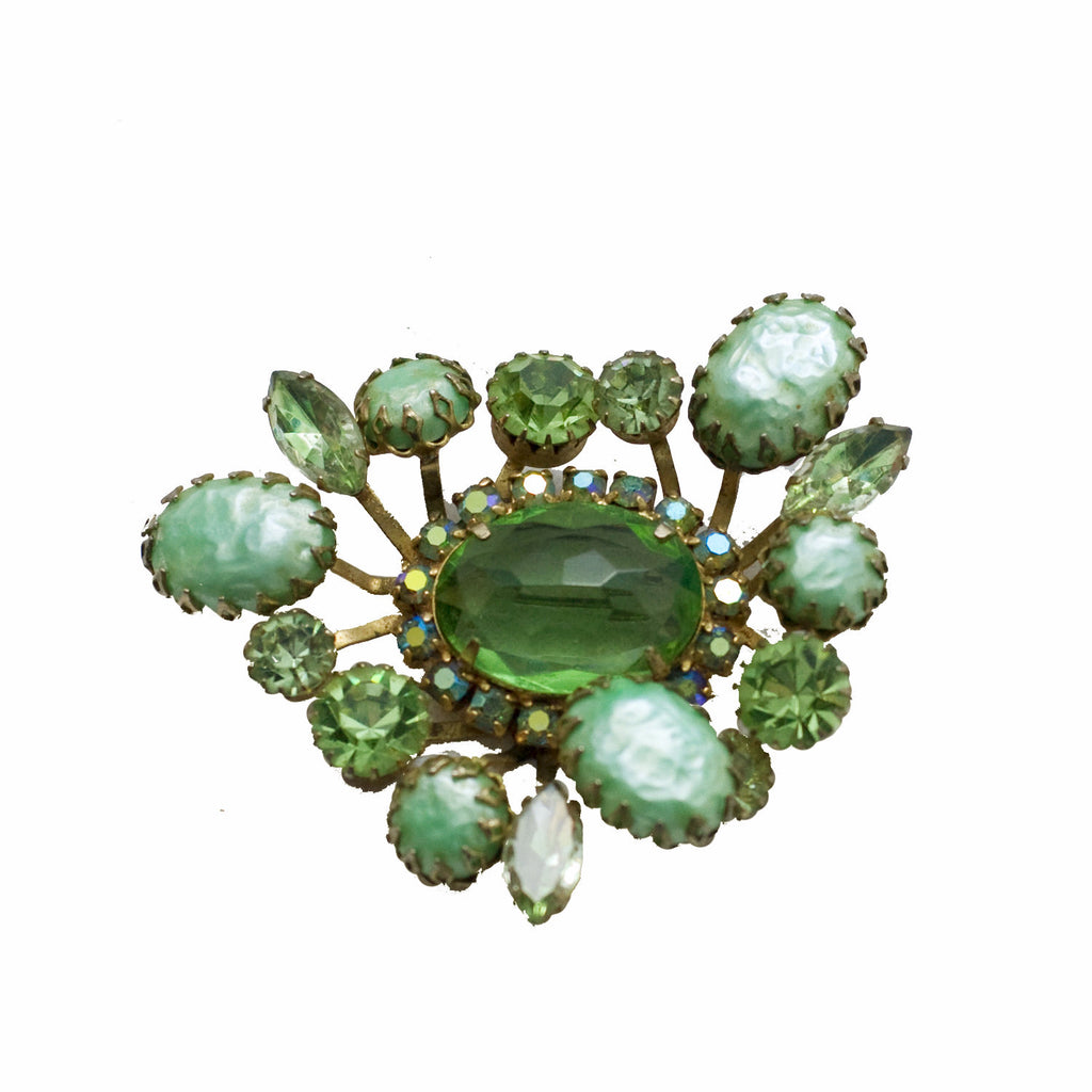 Light Green Vintage Rhinestone Brooch, The Hour