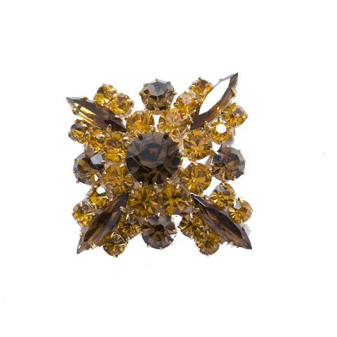 Amber & Brown Rhinestone Brooch