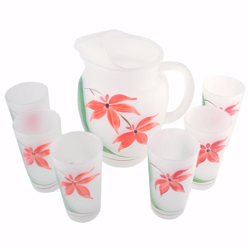 Frosted Red Flower Cocktail Pitcher Set, The Hour Shop