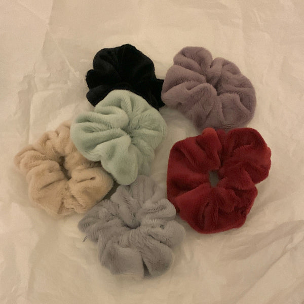 colorful fluffy scrunchie