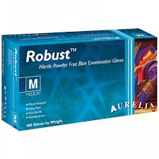 Robust™ Blue Nitrile Powder Free Examination Gloves