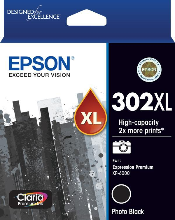 302XL Photo Black Ink Claria Premium - XP-6000 XP-6100