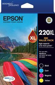220XL Capacity Four Colour Value Pack (Black, Cyan, Magenta and Yellow)-Epson WorkForce WF-2630, WF-2650 & WF-2660