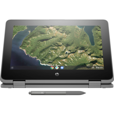 """HP Chromebook x360 11 G2, 11.6"""" HD Touch + Digitizer, Celron N4000, 8GB, 64GB eMMC, Chrome 64, Pen, Storm Gray, 1Yr RTB Warranty"""
