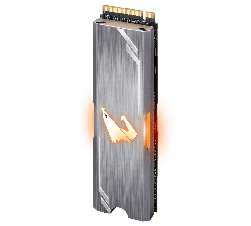 AORUS RGB, TLC SSD, M.2(2280), NVMe, PCIE 3x4, 256GB,Read:3100MB/s(180k IOPs),Write:1050MB/s(240k IOPs),512MB DDR4 Cache,5.1W,5 Years Limited Warranty
