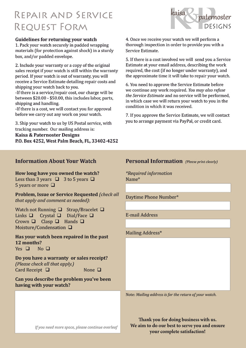 Repair And Service Request Form