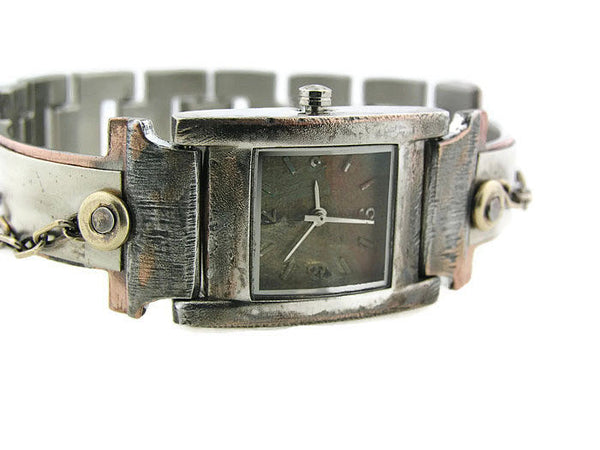 Women's silver & brass Watch, Multicolor Dial