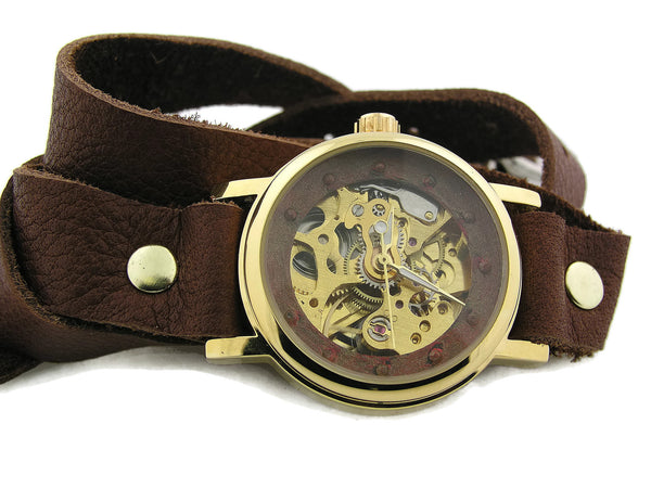 Women's double wrap auto mechanical brown leather strap