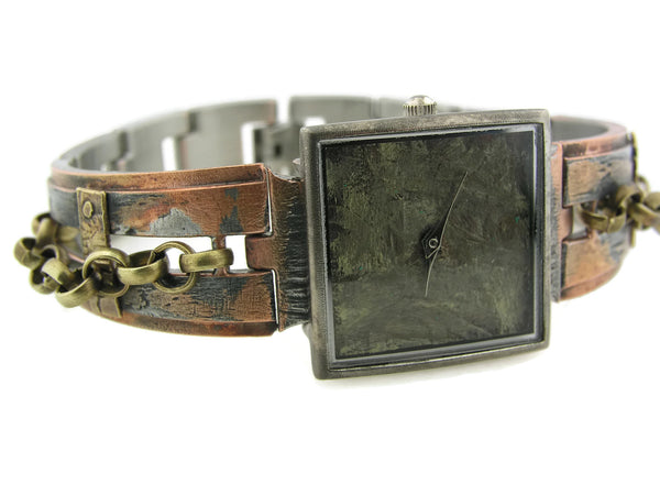 Women's brass Watch, green Dial