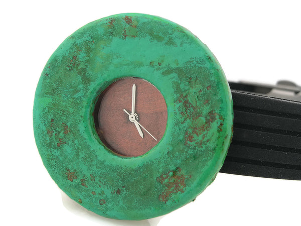 Patina Watch with Antique Copper  Dial Rubber Band