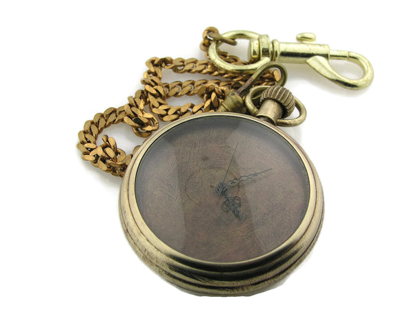 Mechanical brass Pocket Watch with copper Dial
